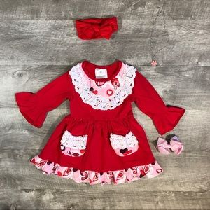 New boutique red hearts & birds dress